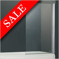 Abacus Vessini - E Series One Part Bath Screen With Towel Bar 800 x 1500mm