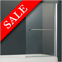 Vessini - E Series One Part Bath Screen With Towel Bar 800 x 1410mm