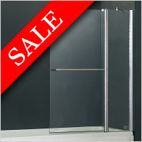 Vessini - E Series Two Part Bath Screen With Towel Bar 940 x 1500mm